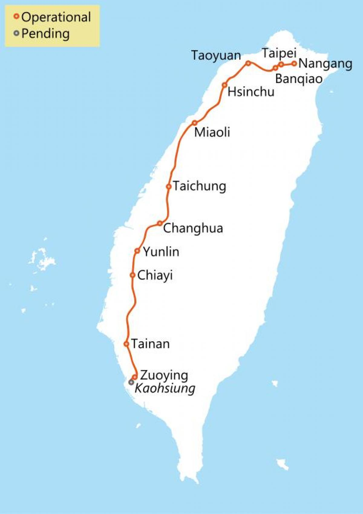 Taiwan high speed rail route map