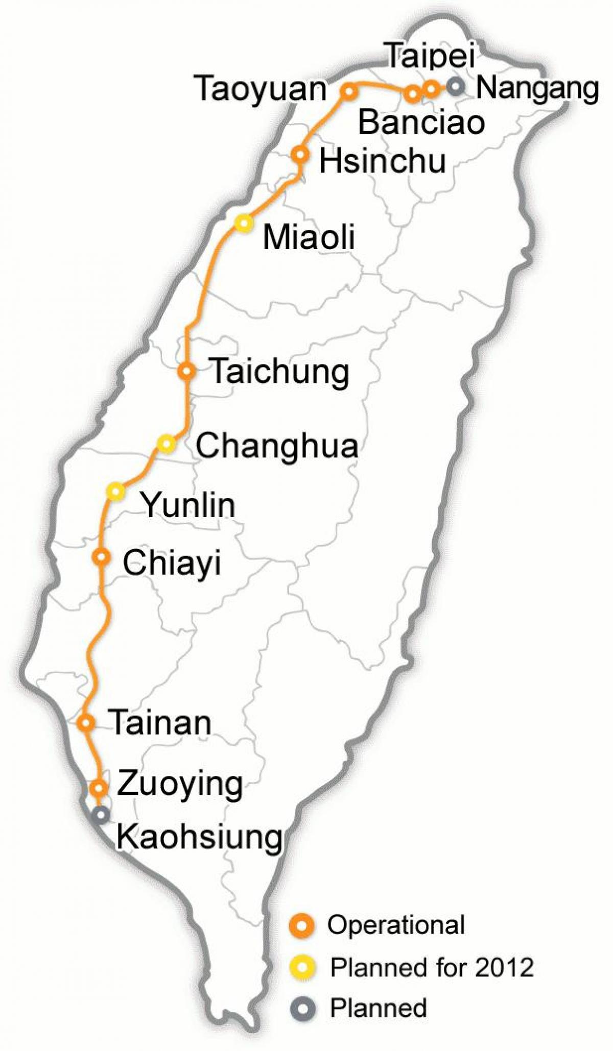 Taiwan high speed rail station map - Taiwan bullet train map